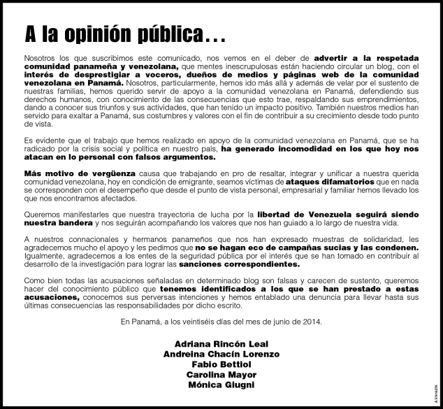 Adriana Rincón: A la opinión pública