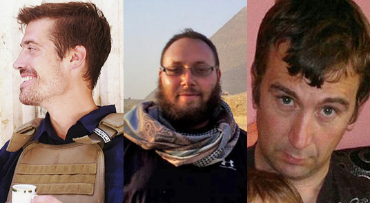 Periodistas: James Foley (AP), Steven Sotloff (FB) y David Haines (FB).